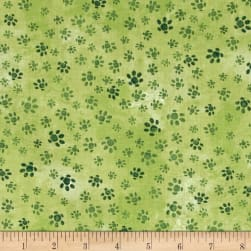 Hedgehog Village Paw Tracks Green Fabric