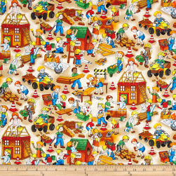 Building 101 Tiny Builders Ecru Fabric