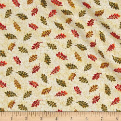 Bountiful Harvest Small Leaves Ecru Metallic Fabric