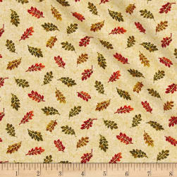 Bountuful Harvest Small Leaves Gold Metallic Fabric