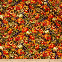 Bountiful Harvest Allover Collage Multi Metallic Fabric