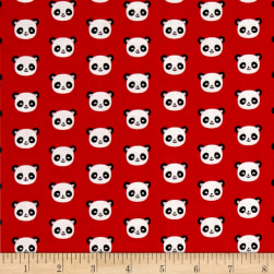 Kaufman Urban Zoology Minis Pandas Red Fabric