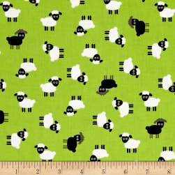 Kaufman Urban Zoology Minis Sheep Green Fabric