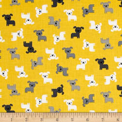 Kaufman Urban Zoology Minis Dogs Yellow Fabric