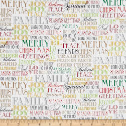 Season's Greetings Words White Metallic Fabric