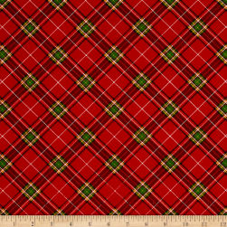 Season's Greetings Diagonal Plaid Red/Green Fabric