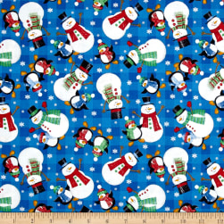 Season's Greetings Snowman Blue Fabric