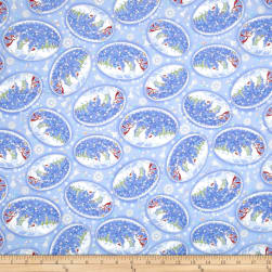 Season's Greetings Snow Globes Blue Metallic Fabric