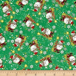 Season's Greetings Jolly Santas Green Metallic Fabric