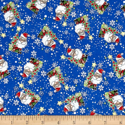 Season Greeting Jolly Santas Blue Metallic Fabric