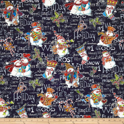 Snowman Christmas Snowman Family Black Metallic Fabric