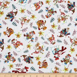 Snowman Christmas Tossed Snowmen Grey Metallic Fabric