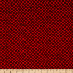 Snowman Christmas Checkerboard Red Fabric