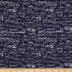 Snowman Christmas Words Blue