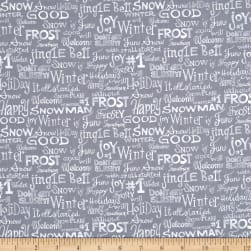 Snowman Christmas Words Grey