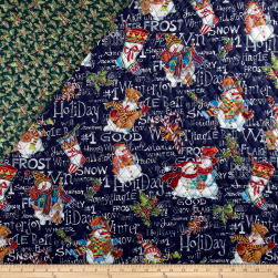 Snowman Christmas Double Face Quilted Black Fabric