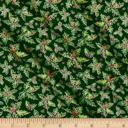 Snowman Christmas Holly Green Fabric