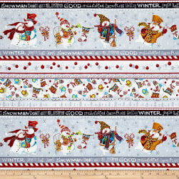 Snowman Christmas Snowman Stripe Black Metallic Fabric
