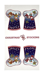 "Snowman Christmas Stocking 23.5"" Panel White"