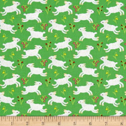 Nursery Rhymes Lambs Green Fabric