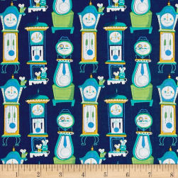 Nursery Rhymes Clocks Navy Fabric