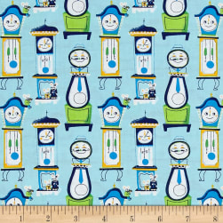 Nursery Rhymes Clocks Light Blue Fabric