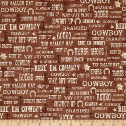 Ranch Hands Words Brown Fabric