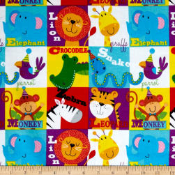 Comfy Flannel Animal Blocks Multi Fabric