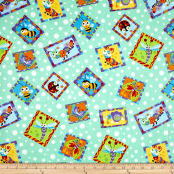 Comfy Flannel Bugs In Squares Green Fabric