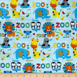 Comfy Flannel Zoo Animals Blue Fabric