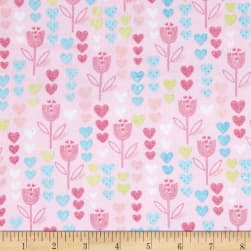 Comfy Flannel Flowers & Hearts Pink Fabric