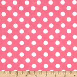 Comfy Flannel Dot Pink/White Fabric