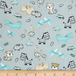 Comfy Flannel Small Safari Animals Grey Fabric