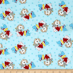 Comfy Flannel Love Dog Blue Fabric