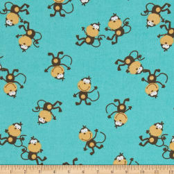 Comfy Flannel Jen's Monkey Aqua Fabric