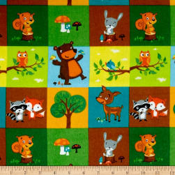 Comfy Flannel Woodland Blocks Green Fabric