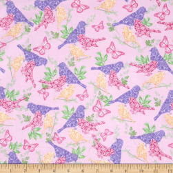 Comfy  Flannel Ornate Birds Pink