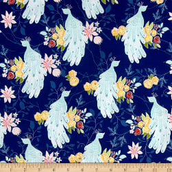 Riley Blake Into the Garden Peacock Navy Fabric