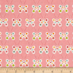 Riley Blake Garden Girl Butterfly Pink Fabric