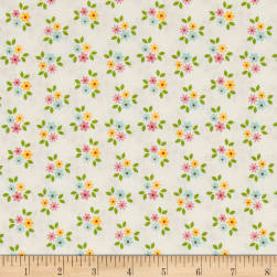 Riley Blake Garden Girl Posies White Fabric