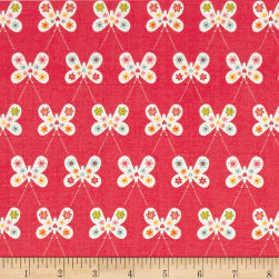 Riley Blake Garden Girl Butterfly Raspberry Fabric