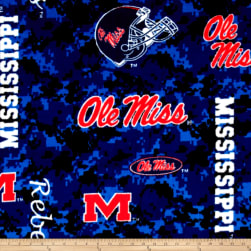 Collegiate Fleece University of Mississippi Digital Fabric