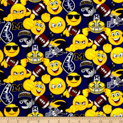 Collegiate Cotton University of Michigan Emoji Fabric