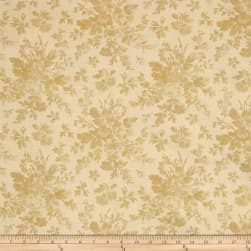 "108"" Wide Quilt Back Floral Tan"