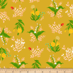Heather Ross Sleeping Porch Lawn Bouquet Gold Fabric