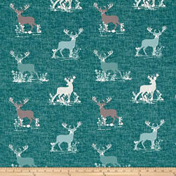 Art Gallery Blithe Dear Deer Teal Fabric