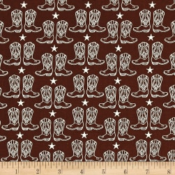 Riley Blake Cowgirl Boots Brown Fabric