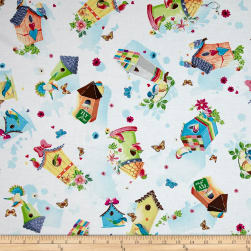 QT Fabrics Blessed Tossed Birdhouses White Fabric