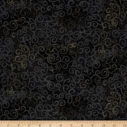 Quilting Treasures 108'' Wide Quilt Back Ombre Scroll Black Fabric