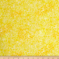 "Quilting Treasures 108"" Wide Quilt Back Ombre Scroll Lemon"